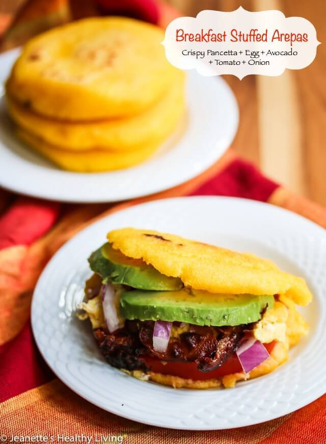 Breakfast Stuffed Arepas - this are amazing! Filled with crispy pancetta, avocado, tomato, onion, and scrambled eggs