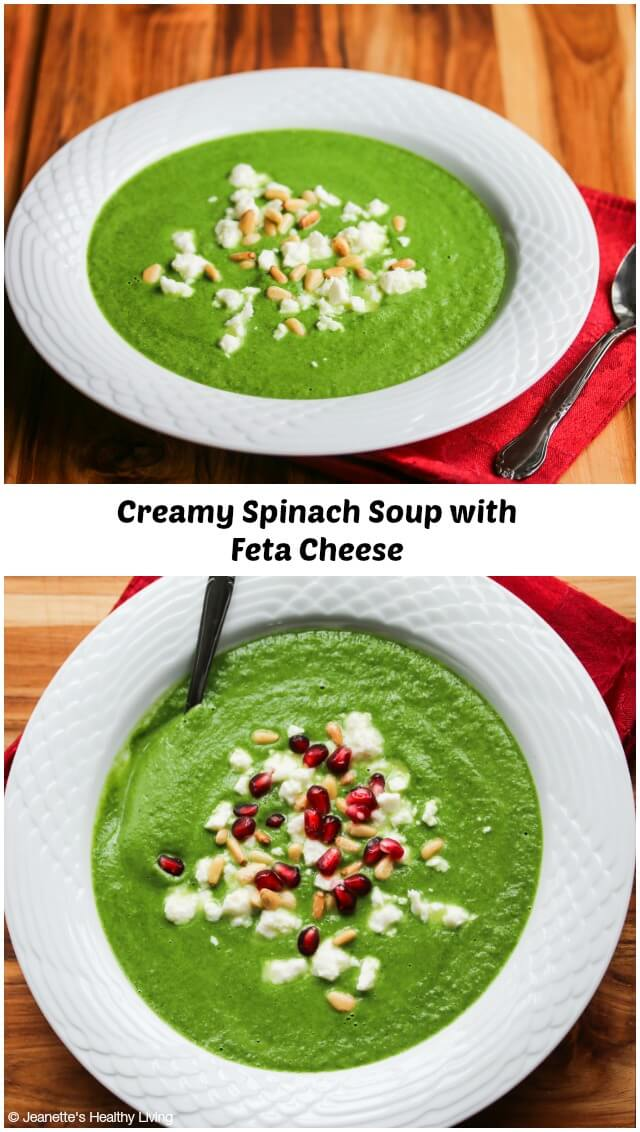 Creamy Spinach Soup with Feta and Pine Nuts (Low Carb) - this is a healthy, light soup that has a rich creamy taste