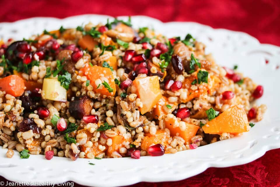 Roasted Butternut Squash Fig Pomegranate Whole Grain Salad - this jewel toned salad is packed with goodness - barley, farro, quinoa, sorghum, roasted butternut squash and rainbow carrots, pomegranate seeds. A gorgeous Holiday salad!