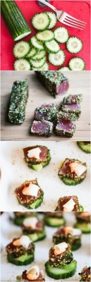 Spicy Tuna Cucumber Avocado Appetizers - these bite-size appetizers are amazing! Perfect for holiday entertaining