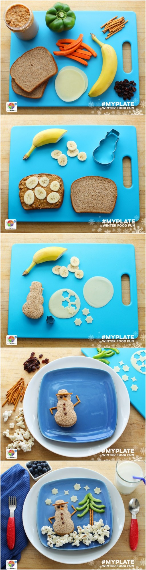 How to make an Edible MyPlate Snowman
