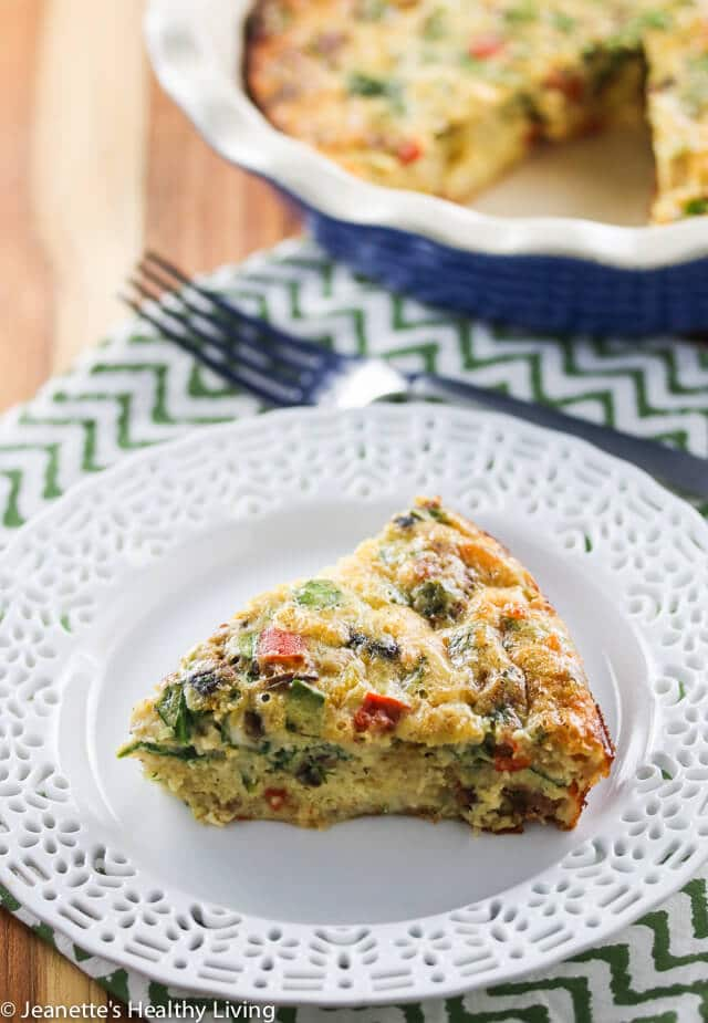 Crustless Sausage Spinach Mushroom Quiche - perfect for brunch over the holidays!