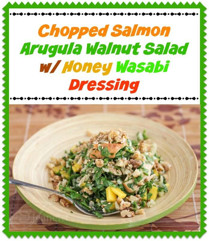 Chopped Salmon Arugula Walnut Salad