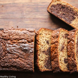 Gluten Free Marbled Banana Chocolate Quick Bread - made with oat flour and almond flour, this quick bread is healthy and delicious!