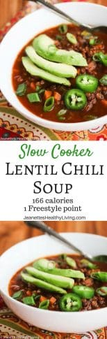 Slow Cooker Vegetarian Lentil Chili Soup - only 166 calories/1 Freestyle point per serving