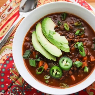 Slow Cooker Vegetarian Lentil Chili Soup Recipe