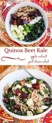 Quinoa Beet Kale Apple Walnut Goat Cheese Salad - a healthy winter salad perfect for lunch or dinner