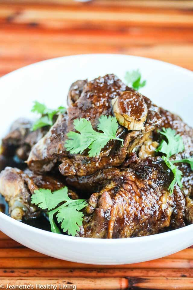Slow Cooker Chinese Three Cup Chicken - this is a lighter version of a traditional braised chicken dish. Super easy recipe, and delicious served over steamed rice.