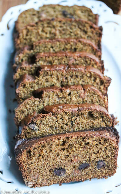 Spiced Pumpkin Spelt Oat Quick Bread - perfect for breakfast or tea, this quick bread is made with whole grain spelt, oat flour and ground flaxseeds