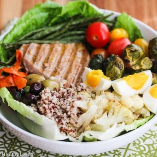 Winter Tuna Nicoise Salad with Quinoa and Roasted Vegetables