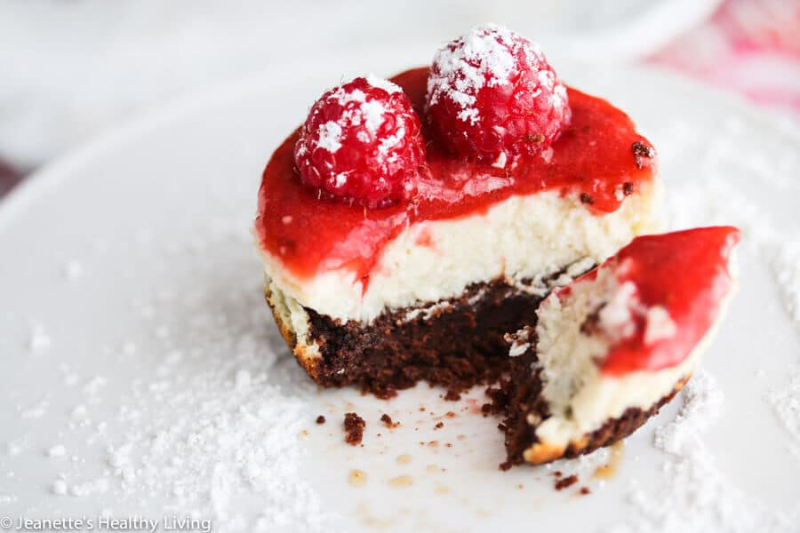 Mini Gluten-Free Chocolate Crusted Cheesecake with Fresh Berries - less than 200 calories! You'll love the chocolate crust and the creamy filling and the fresh berry topping is the perfect finishing touch.