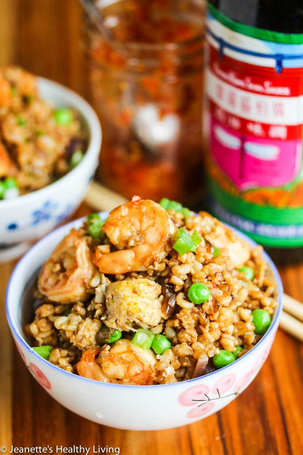 Indonesian Shrimp Fried Brown Rice - this Southeast Asian fried rice is sweet, savory and a touch spicy, perfect for any meal of the day