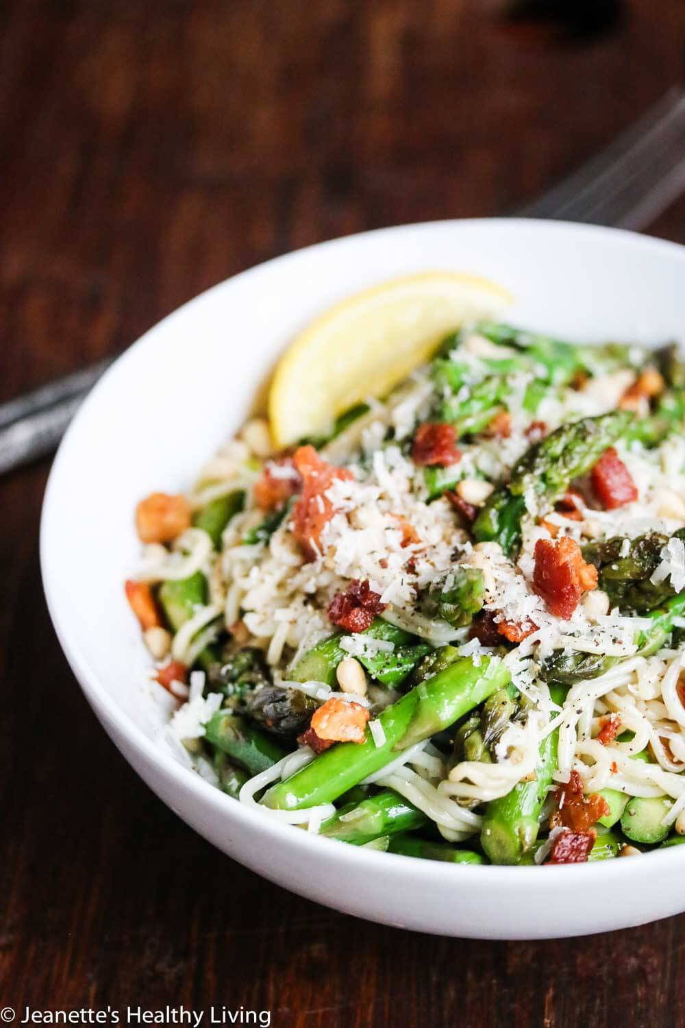 Pasta with Asparagus Pancetta and Pine Nuts - this gluten-free, low-carb pasta dish takes just 15 minutes to make - so simple and delicious!