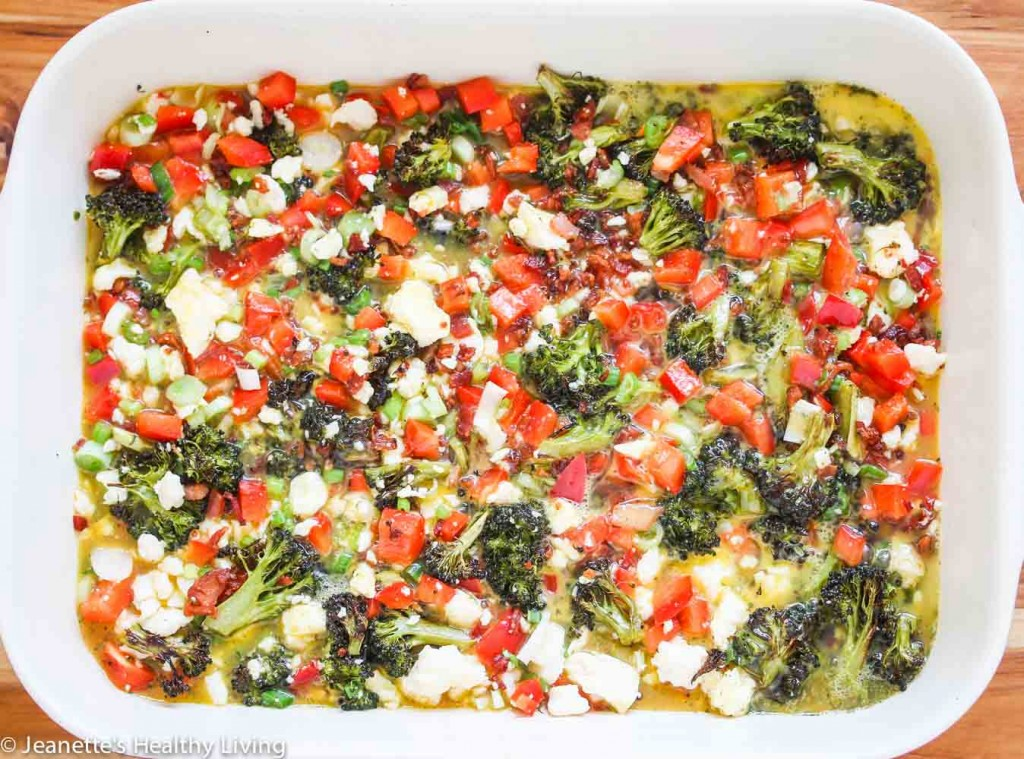 Roasted Broccoli Red Pepper Pancetta Breakfast Casserole - great for a crowd at brunch!