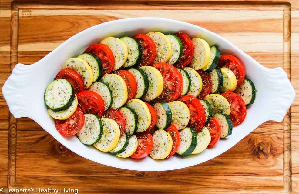 Baked Zucchini Tomato Summer Squash Goat Cheese Gratin - this elegant summer gratin is perfect for potlucks and entertaining