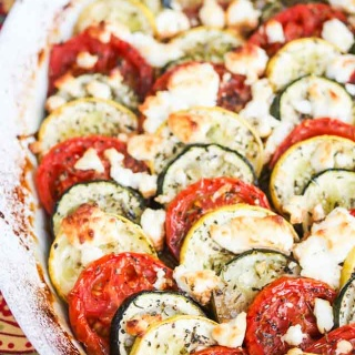 Zucchini Tomato Summer Squash Goat Cheese Gratin - this elegant summer gratin is perfect for potlucks and entertaining