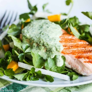 Grilled Salmon with Herb Yogurt Sauce - this deliciously light and healthy meal is perfect for celebrating Spring
