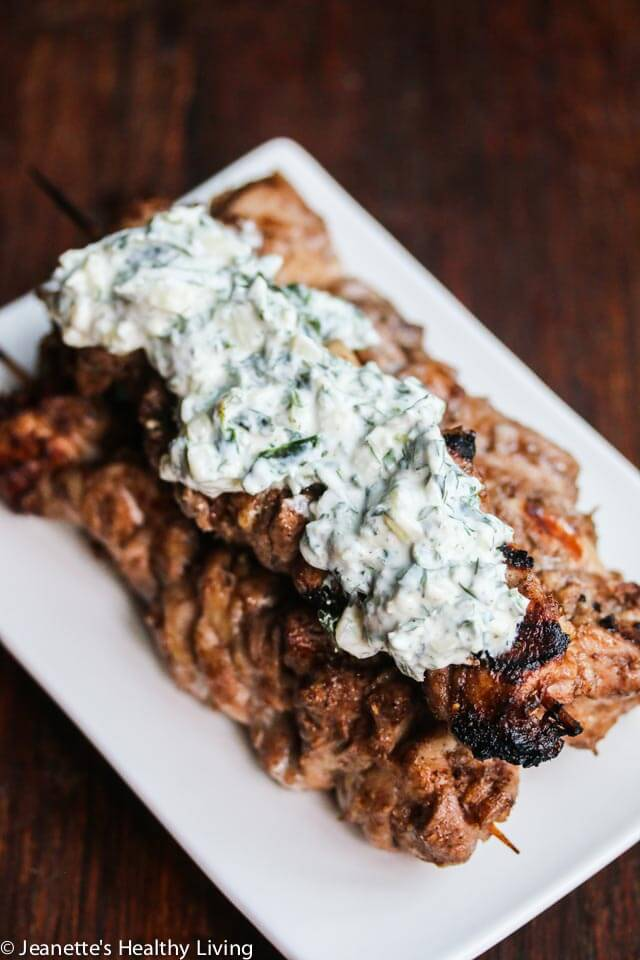 Grilled Chicken Shawarma with Fennel Spinach Tzatziki Sauce - the chicken is marinated with Greek yogurt, allspice, coriander, cumin and cinnamon; and the sauce is a mixture of Greek yogurt, fresh dill, mint, parsley, spinach, fennel and cucumber. Impress your family and friends with this flavorful grilled chicken dish served with a cool topping.