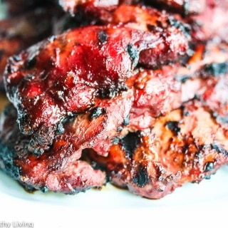 Grilled Chinese Char Siu Chicken - this marinade is phenomenal ~ no artificial colors in this recipe - brilliant red beet powder stands in for red food coloring
