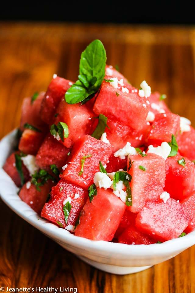 Watermelon Mint Aged Goat Cheese Salad - sweet and salty, this summer salad is refreshing and has just 3 ingredients