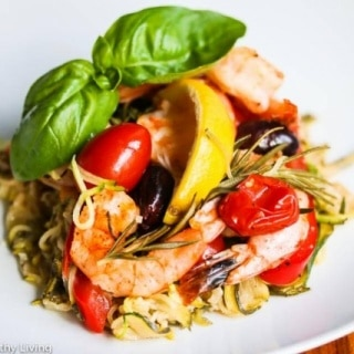 Grilled Mediterranean Shrimp with Zucchini Noodles in a Packet