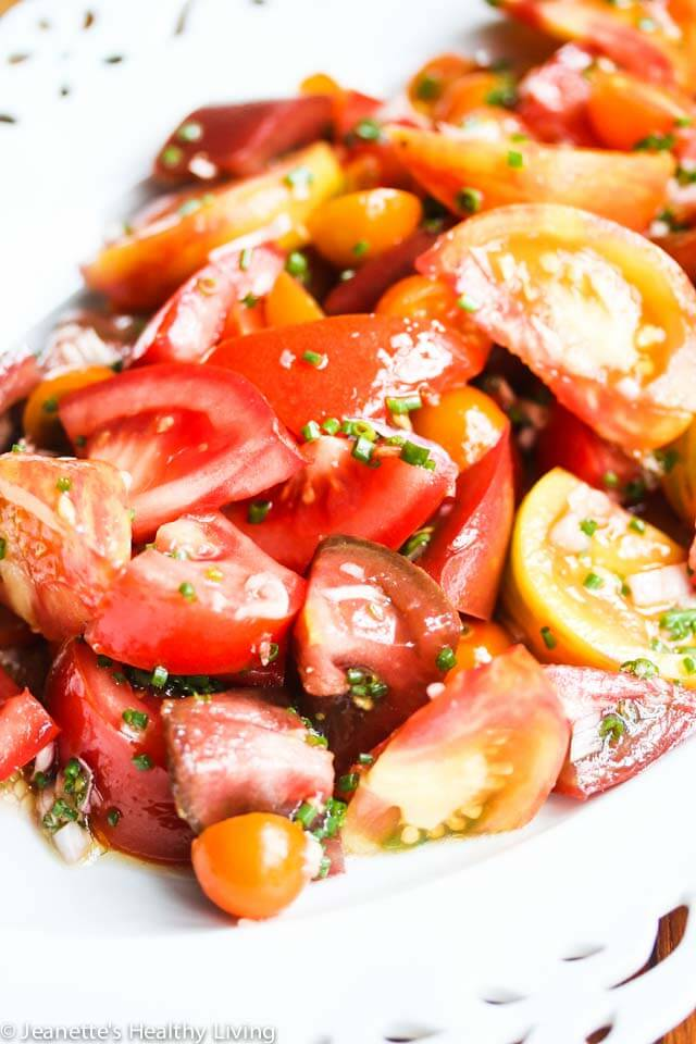 Salad with Sherry Vinegar Shallot Dressing - this simple tomato salad highlights summer tomatoes at their peak
