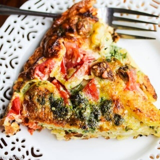 Tomato Corn Potato Sausage Pesto Frittata Recipe