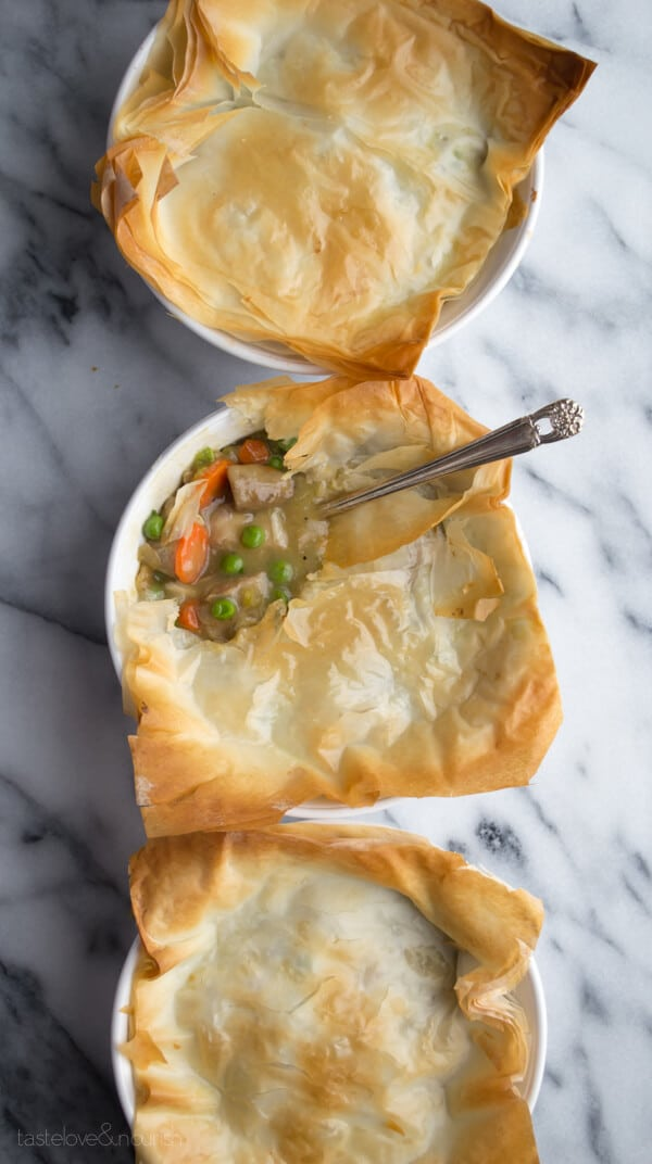 Phyllo Chicken Pot Pie - a great way to use up leftover chicken