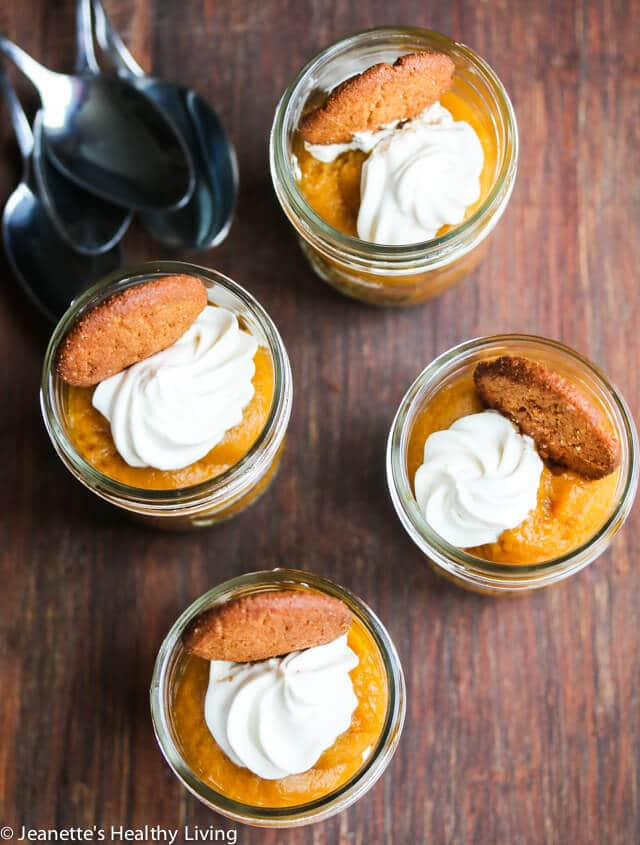 Light Pumpkin Pie Gingersnap Parfait Recipe - this easy to assemble pumpkin pie is served in individual jars, making this perfect for a snack or fun dessert