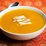 Spiced Butternut Squash Soup - this quick and easy soup recipe is healthy, delicious and happens to be vegan. Only 5 Ingredients. Perfect for Fall and Thanksgiving menus.