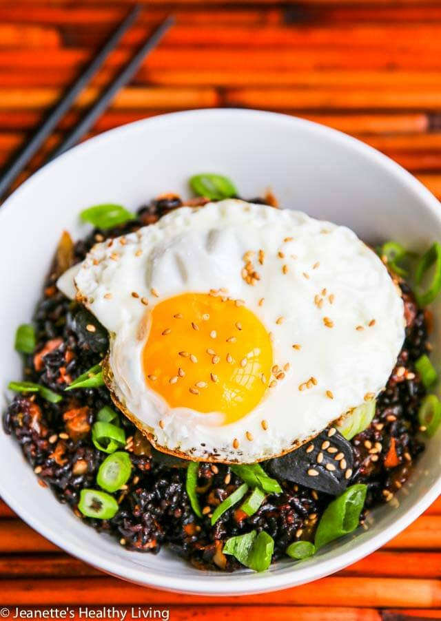 Kimchi Fried Forbidden Rice with Black Garlic - this one bowl meal is absolutely delicious! Spicy, sweet and full of flavor