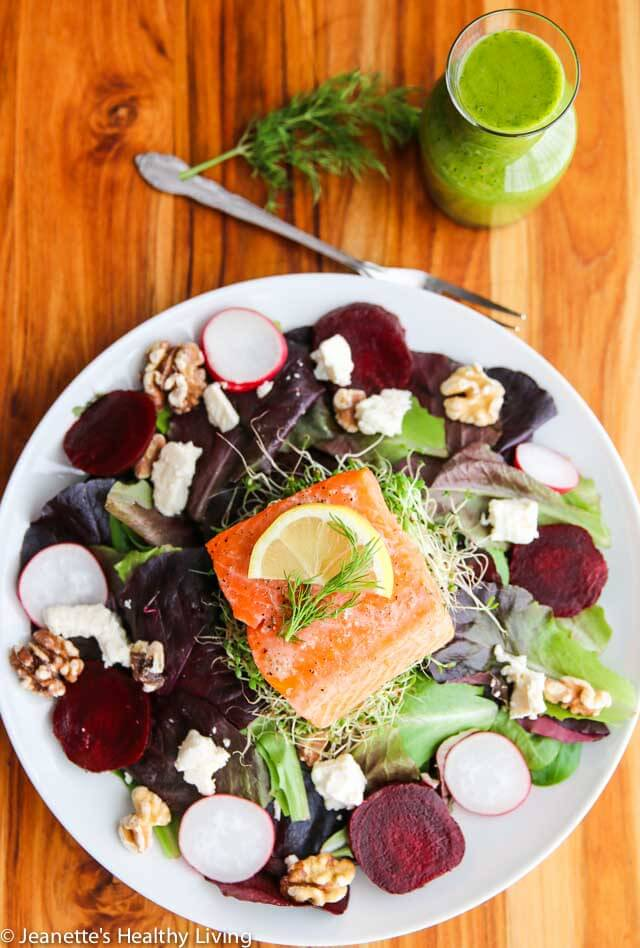 Salmon Roasted Beet Feta Salad with Dill Salad Dressing - this is a healthy delicious main course salad - the dill dressing is the key to this salad!