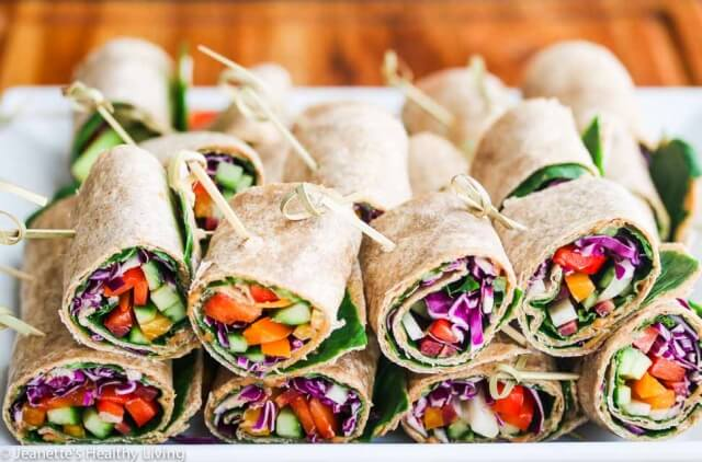 Rainbow Vegetable Wraps with Peanut Sauce - these portable sandwiches are perfect for lunch or an afternoon snack - full of veggies, juicy mango, fresh mint and a delicious peanut sauce!