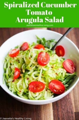 Sweet and Spicy Spiralized Cucumber Tomato Arugula Salad