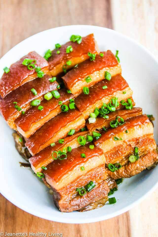 Chinese Five Spice Pork Belly - I make this for special occasions and it always receives rave reviews. Serve with steamed Chinese buns, hoisin sauce and sliced cucumbers for an appetizer ~ https://jeanetteshealthyliving.com