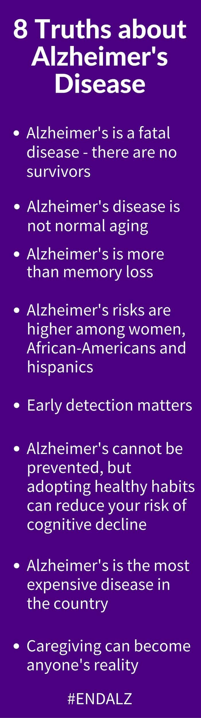 8 Truths about Alzheimer's Disease - - help end Alzheimer's Disease by learning the truth about this disease