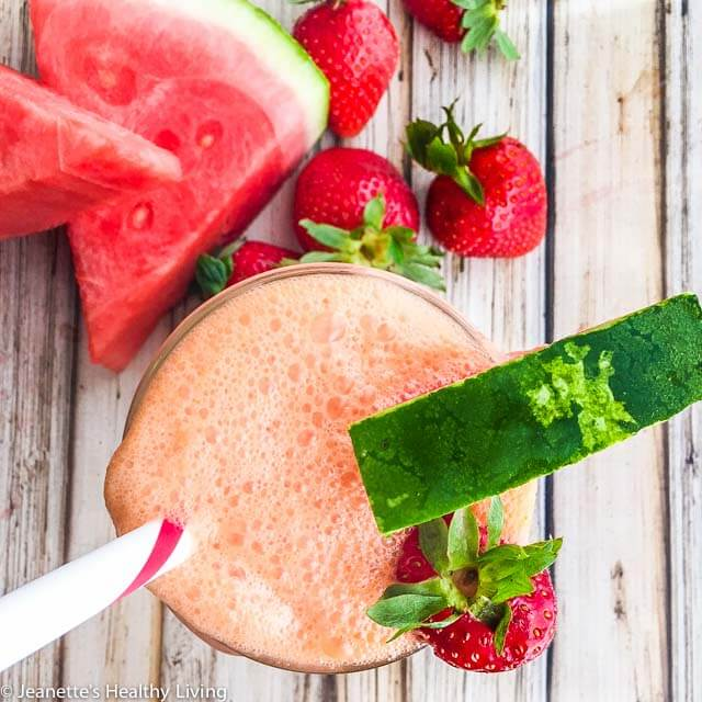 Watermelon Strawberry Coconut Water Smoothie - this smoothie is refreshing, hydrating and healthy with a nutrient booster https://jeanetteshealthyliving.com