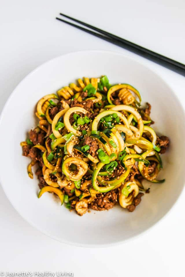 Chinese Five Spice Ground Turkey Zucchini Noodles - this is a low carb version of a popular Chinese noodle dish. Delicious and very satisfying! ~ https://jeanetteshealthyliving.com