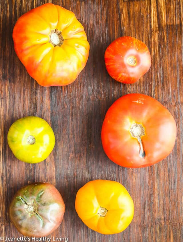 Summer Tomato Salad with Sherry Vinegar Shallot Dressing - this simple tomato salad features heirloom tomatoes at their peak ~ https://jeanetteshealthyliving.com