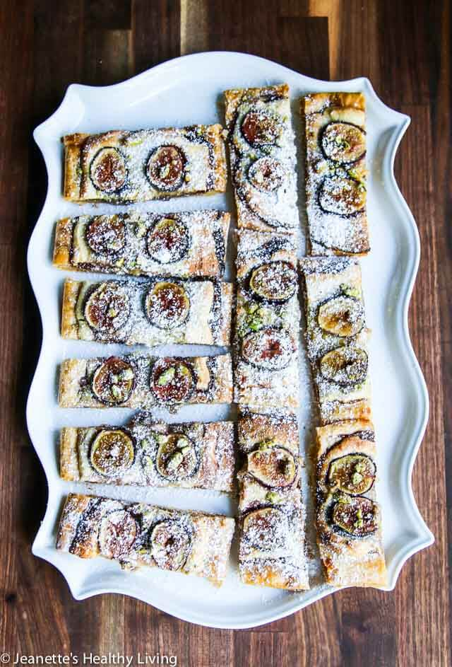 Gluten Free Fig Frangipane Tart - made with gluten free puff pastry, this elegant tart features fresh figs, frangipane and pistachios ~ https://jeanetteshealthyliving.com