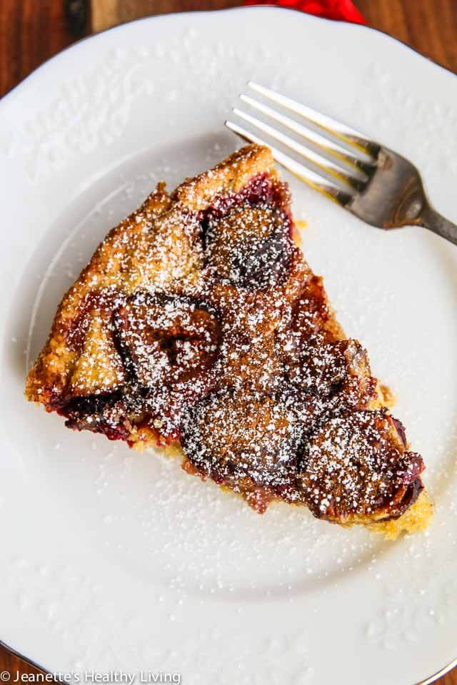 Fig Plum Orange Torte - this fruit topped cake is made with whole wheat pastry flour, making it a healthy Fall dessert. Just 330 calories a