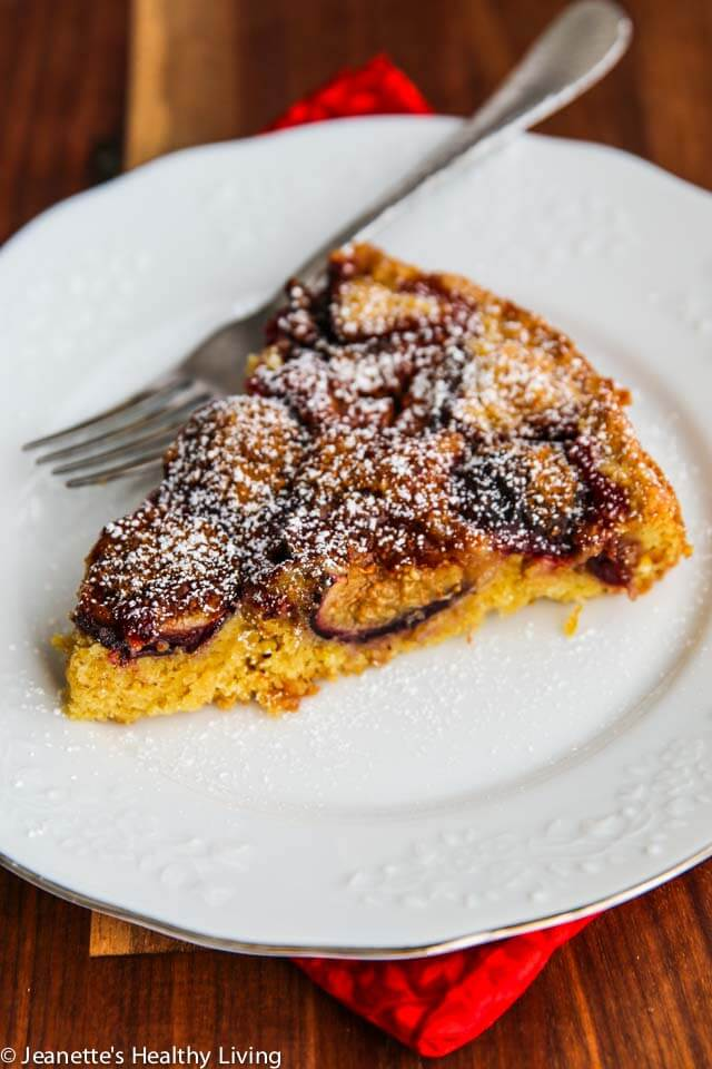 Fig Plum Orange Torte - this fruit topped cake is made with whole wheat pastry flour, making it a healthy Fall dessert. Just 330 calories a serving ~ https://jeanetteshealthyliving.com