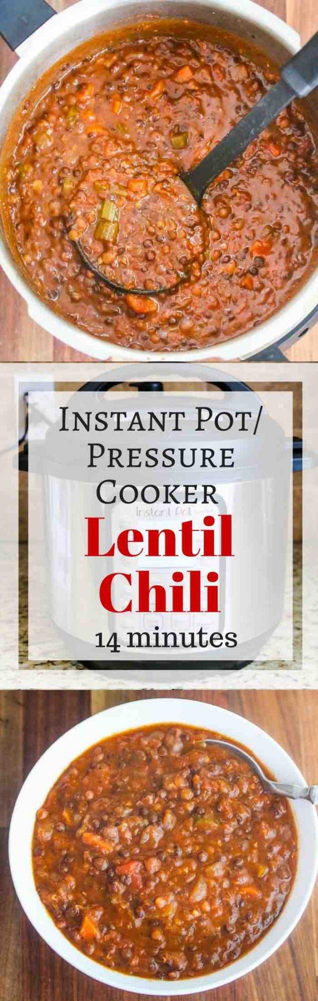 Pressure Cooker/Instant Pot Lentil Chili - vegan/vegetarian, quick, healthy, delicious meal