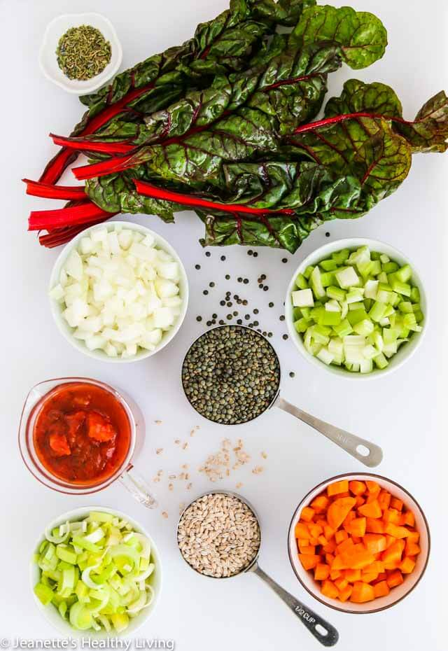 Lentil Vegetable Farro Chard Soup - a nutritious, hearty soup packed with vitamins and minerals, fiber and protein ~ https://jeanetteshealthyliving.com