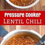 Pressure Cooker Lentil Chili - lentils take just 14 minutes to cook in a pressure cooker - this vegetarian/vegan chili is deliciously hearty