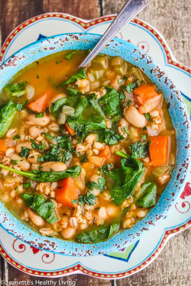 Spinach Vegetable Barley Bean Soup - a nutritious, hearty soup packed with vitamins, minerals, and antioxidants - perfect for Fall and Winter ~ https://jeanetteshealthyliving.com