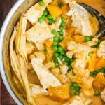 Thai Tofu Butternut Squash Cauliflower Red Curry - this vegetarian/vegan one pot meal cooks in less than 30 minutes