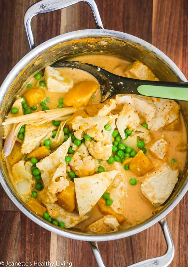 Vegetarian Thai Coconut Red Curry - this vegan/vegetarian one pot meal cooks in less than 30 minutes; delicious served over steamed rice or rice noodles