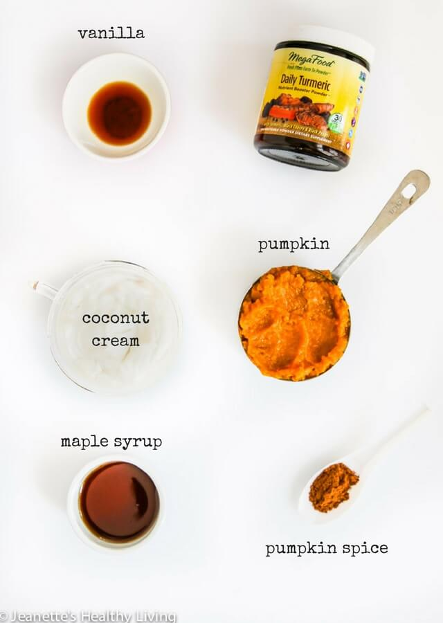 Pumpkin Coconut Turmeric Mousse - this decadently healthy dessert has just 6 ingredients and is so easy to make ~ https://jeanetteshealthyliving.com