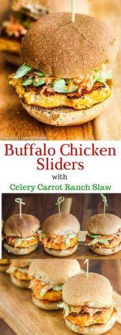Buffalo Chicken Burgers with Celery Carrot Ranch Slaw